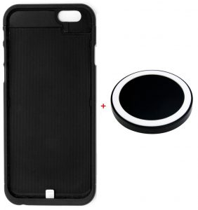 Wireless Charging Pad with Qi Wireless Charging Receiver Phone Case Charger Back Case Cover for iPhone 6 and 6S   4.7 Inch Black   Slim Hard Case   Easy Installation(M1 Black)-0