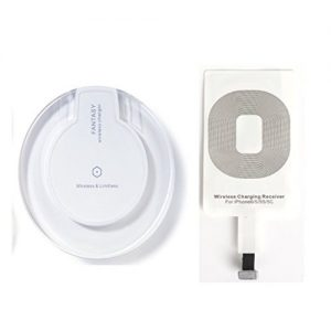 Qi Wireless Charging Mini Pad for Apple iPhone 5/5c /5s/6/6s/6 Plus/6S plus iPod Touch Wireless Charger along with iPhone receiver[M3 White]-553